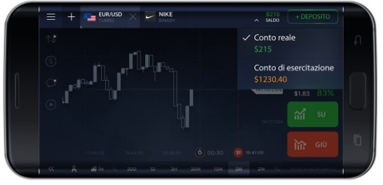 Conto reale e conto demo IQ Option