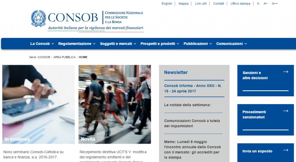 Consob Home Page