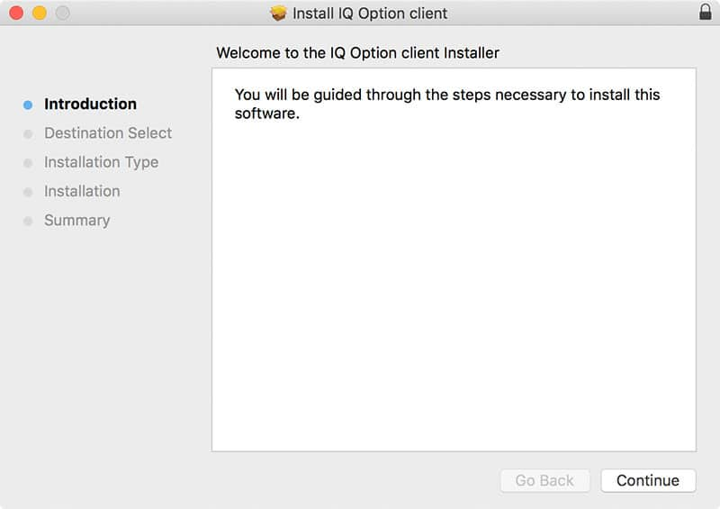 Installazione client IQ Option per MAC