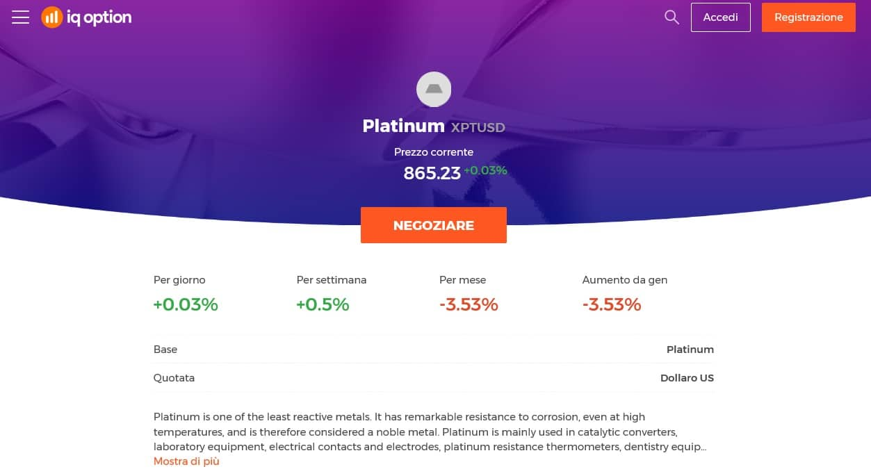 trading platino